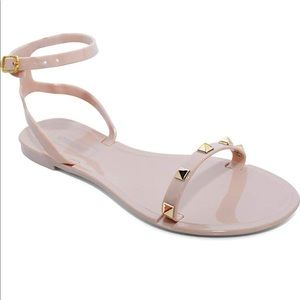 Shoes - NEW Nude Color Sandals with Strap with Gold Studs!
